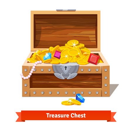 Treasure chest full of gold coins, crystal gems and jewellery. Flat vector illustration and icon Stock Illustratie
