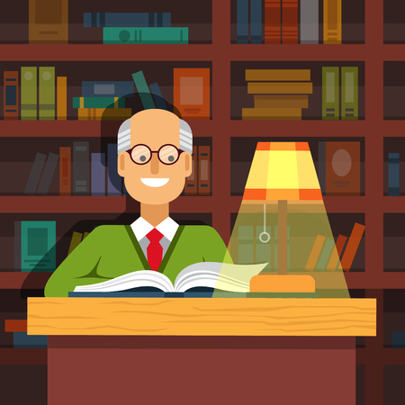 lit: Old professor in glasses reading a book at the lamp lit desk in front of massive book shelves.