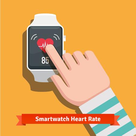dedo apuntando: reloj inteligente blanco que muestra el corazón lata aplicación de tarifas.
