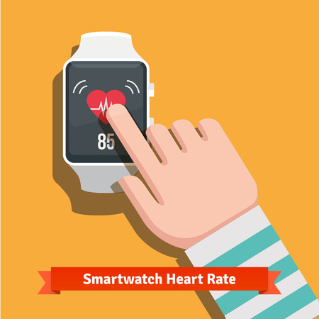 finger pointing: White smart watch showing heart beat rate app.  Illustration
