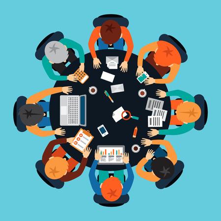 Startup brainstormsessie. Business teamwork aan een ronde tafel. Het delen van ideeën en rapportage. Flat vector illustratie.
