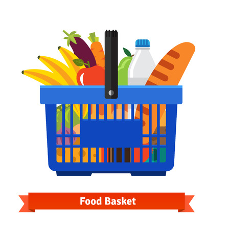 baskets: Shopping basket full of healthy organic fresh and natural food. Flat vector icon.