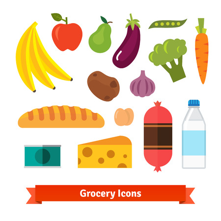 canned fruit: Classic vegetables, fruits and groceries flat vector icon set.