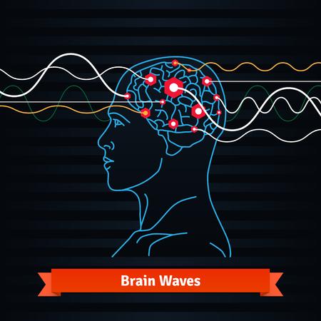 Gehirnwellen. Elektroden mit einem Mann den Kopf verbunden ist. Mind Power Konzept. Wohnung vector dünne Linie Symbol.