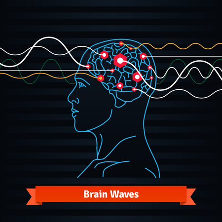 Brain waves. Electrodes connected to a man head. Mind power concept. Flat vector thin line icon. Vettoriali