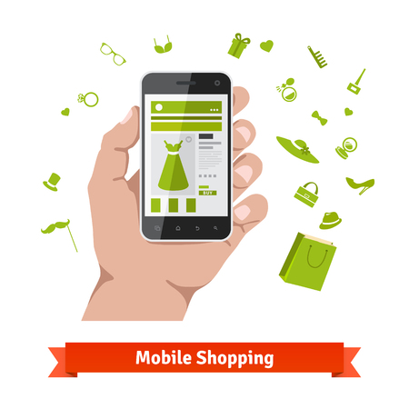 wares: Woman mobile online shopping for accessories and cosmetics. Hand holding phone with product page and various retail wares icons. Flat illustration. Illustration