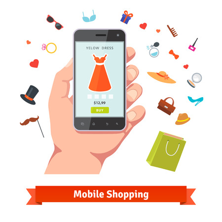 wares: Woman mobile online shopping for accessories and cosmetics. Hand holding phone with product page and various retail wares colourful flat icons.