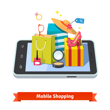 Woman mobile online shopping for accessories and cosmetics concept. Purchases in beautiful wrapped boxes, shopping bag and wares laying down on tablet computer. Flat vector illustration. Çizim
