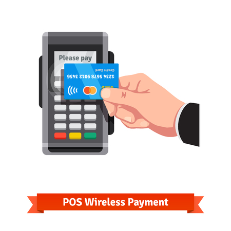terminals: Man holding credit card in hand paying wireless over POS terminal. Illustration