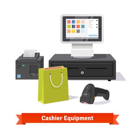 小規模小売り業のビジネスの支払いのすべて: 現代タブレット POS 端末のバーコード スキャナーとプリンターの領収書。