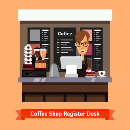 shop assistant: Young shop assistant serving a cup of coffee and cake at the cashier desk. Flat style vector illustration. Illustration