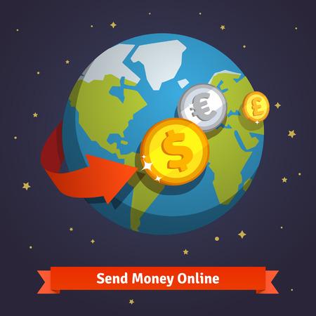 Geld online senden Konzept. Pfeil um die Erde im Raum. Weltwährungen um Münzen fliegen über der Welt vertreten. Wohnung Stil Vektor-Symbol. Illustration