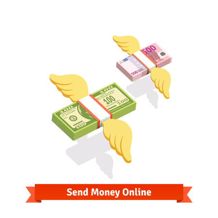 Winged banded dollar and euro bills packs flying. Angel investment, sending money. Flat style vector icons. Иллюстрация