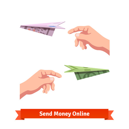 waste money: Hands throwing a dollar and euro paper planes. Light-minded investment. Flat vector icon.