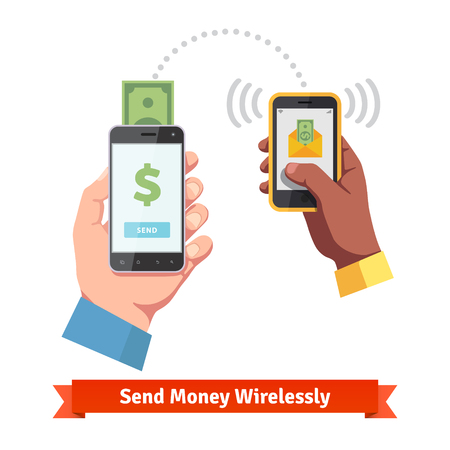 money hand: People sending and receiving money wirelessly with their mobile phones.