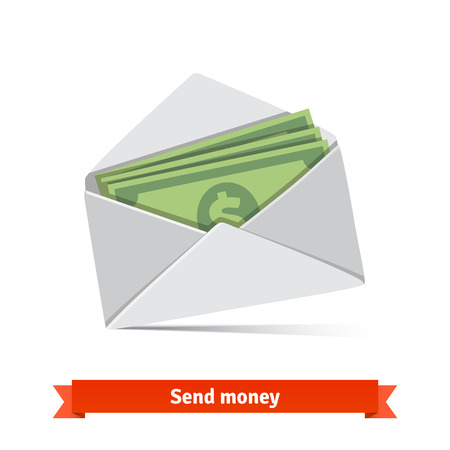 letter envelope: Some dollar bills in white envelope. Send money concept.