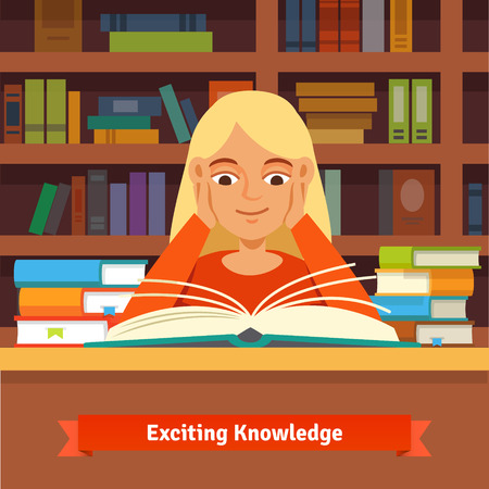 cheeks: Young blonde girl reading a book in a library amazed and smiling holding hands on cheeks.