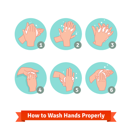 is wet: Hands washing medical instructions. Soap and bubbles.