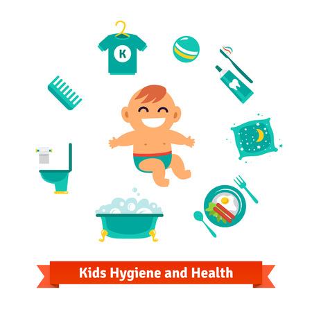 de higiene: salud e higiene iconos niños. Bebé, baño de burbujas, aseo, desayuno, almohada, cepillo de dientes y pasta de dientes. Iconos del vector del estilo del piso.