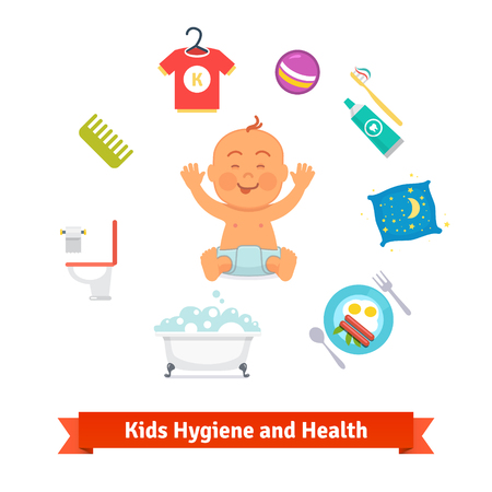 toothpaste tube: Kids health and hygiene icons.