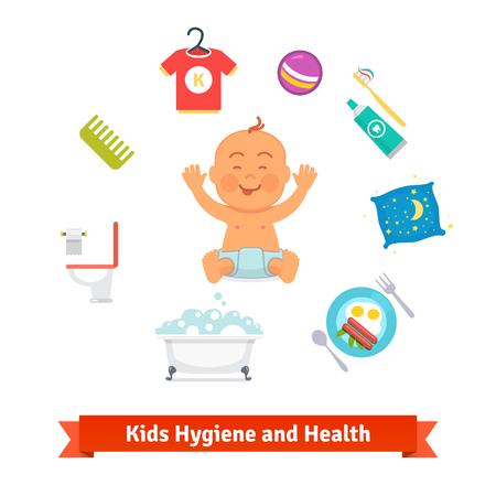 Kids health and hygiene icons.