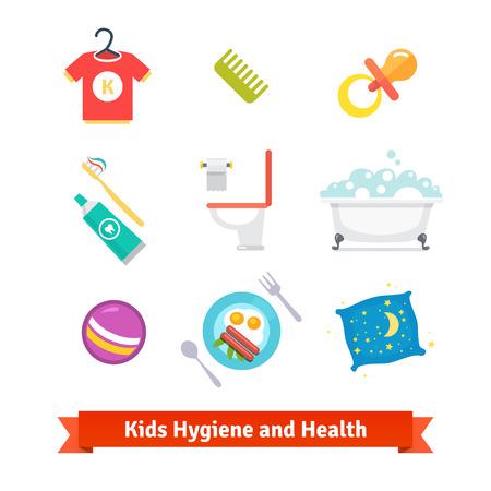 higiene: Salud de los Niños y los iconos del vector de higiene plana. Vectores
