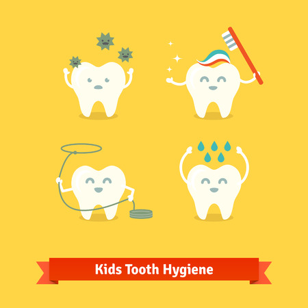 tooth cleaning: Children teeth care and hygiene cartoon flat vector icons.