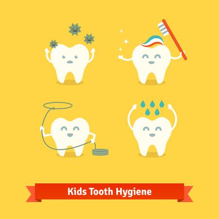 muela caricatura: Ni�os cuidado de los dientes y la higiene de dibujos animados iconos vectoriales plana.