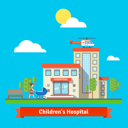 hospital cartoon: Children hospital flat colorful vector illustration.  Illustration