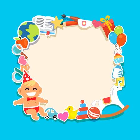 pato: Bebé en un sombrero y corbata de lazo partido. Juguetes y regalos. ilustración vectorial de estilo plano y los iconos. Vectores