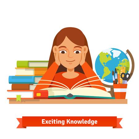 Młode brązowe włosy dziewczyny uczeń czyta książkę uśmiecha się trzymając się za ręce na policzkach.