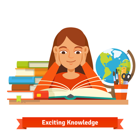 dictionaries: Young brown hair girl student reading a book smiling holding hands on cheeks. Illustration
