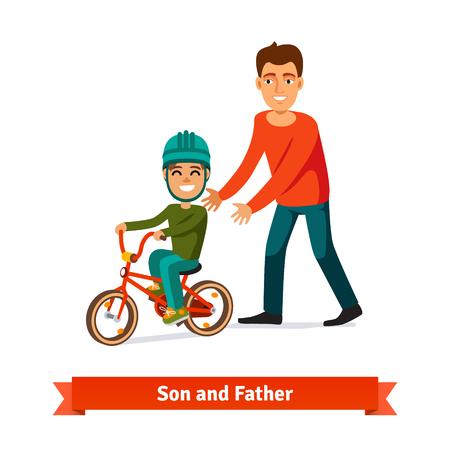Vector father and son: Cha con dạy đi xe đạp. Khái niệm nuôi dạy con cái. Phong cách phẳng minh hoạ vector.