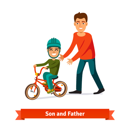 teaching children: Father teaching son to ride a bicycle. Parenting concept. Flat style vector illustration.
