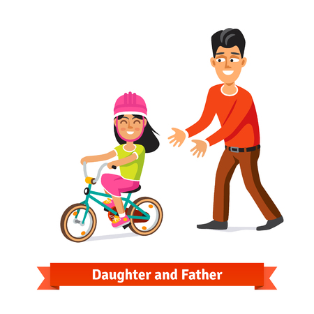 dad daughter: Father teaching daughter to ride a bicycle. Flat style vector illustration. Illustration