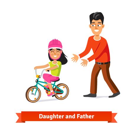 enseñanza: Padre Hija de enseñanza a montar en bicicleta. ilustración vectorial de estilo plano. Vectores