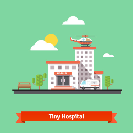 Hospital flat vector illustration. Clinic building with ambulance helicopter and car.