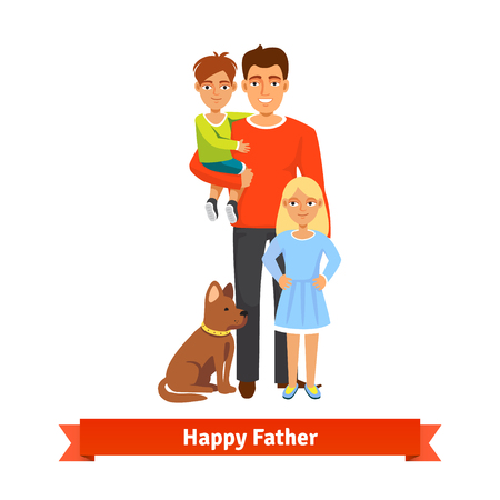 daddy: Happy father holding his son in arms, daughter standing and dog siting at feet. Family parenting concept. Flat style vector illustration.