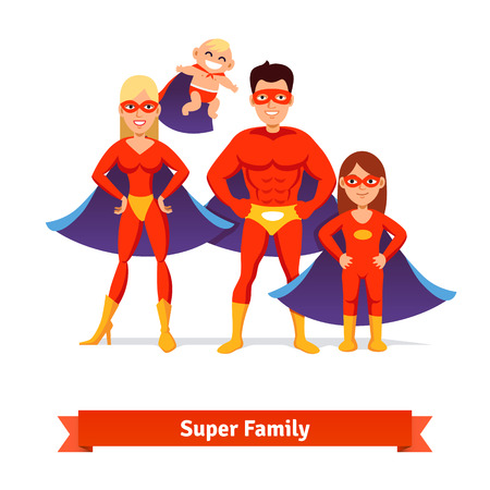 Super family. Superhero man father, woman mother, girl daughter and baby. Flat style vector illustration. Stock Illustratie