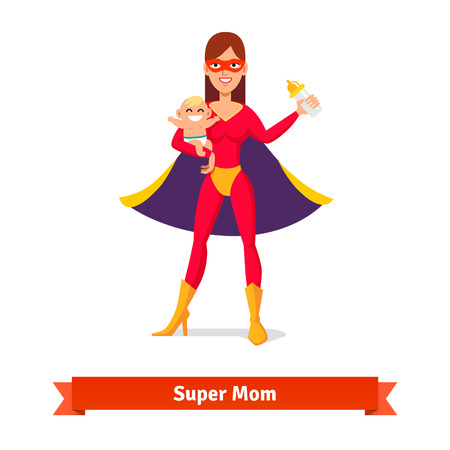 heroine: Super mother holding son in her arms and baby milk bottle. Woman and her boy. Flat style vector illustration. Illustration