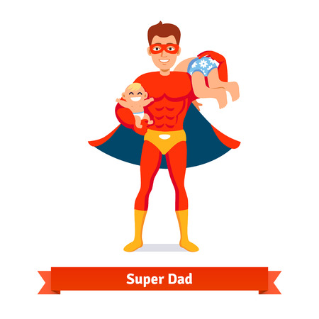 handsome young man: Superhero dad concept. Father taking care of two sons. Baby boy and teen. Flat style vector icon.