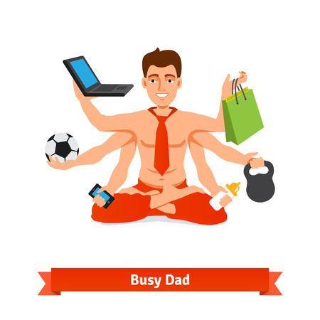 absorbed: Busy multitasking man and father concept - working and taking care of baby. Flat style vector illustration. Illustration