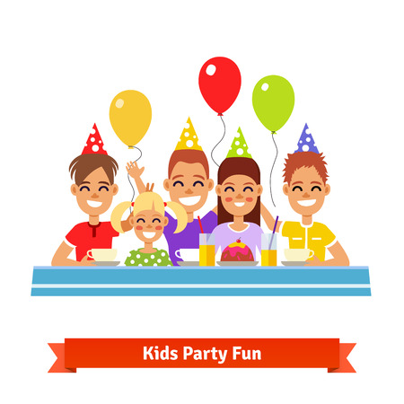 birthday tea: Group of happy smiling adorable kids having fun at birthday tea party. Flat style vector illustration.
