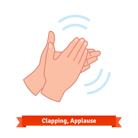 Illustration of clapping applauding hands and diverging sound waves. Flat vector icon. Иллюстрация