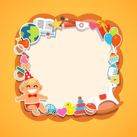marco cumpleaños: Marco de niños de dibujos animados. Baby shower, fiesta de los niños, cumpleaños o evento de vacaciones. Niño en un sombrero de pajarita y fiesta. Juguetes y regalos. Ilustración vectorial de estilo de espacios de iconos.