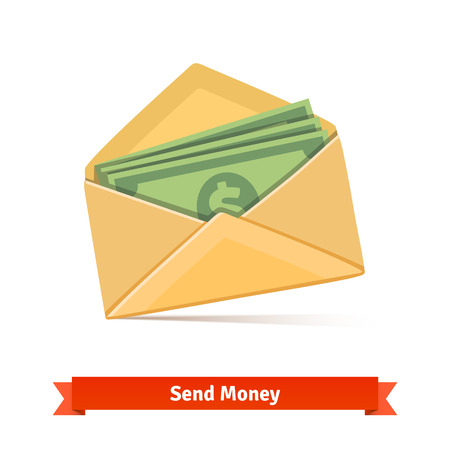 Some dollar bills in yellow paper envelope. Send money concept. Flat vector icon. Illustration