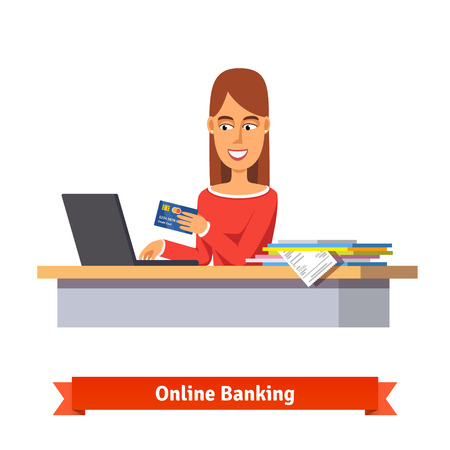 woman holding money: Bank clerk at the table issuing a credit card. Woman paying a bill online on a laptop. Bills and papers heap. Flat vector illustration.