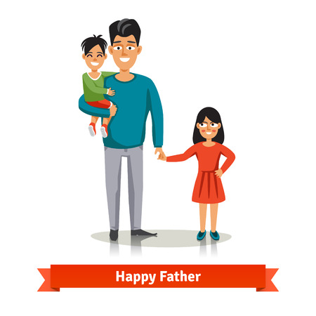 dad son: Father holding his son in arms and holding her daughters hand. Happy family flat style vector illustration. Illustration