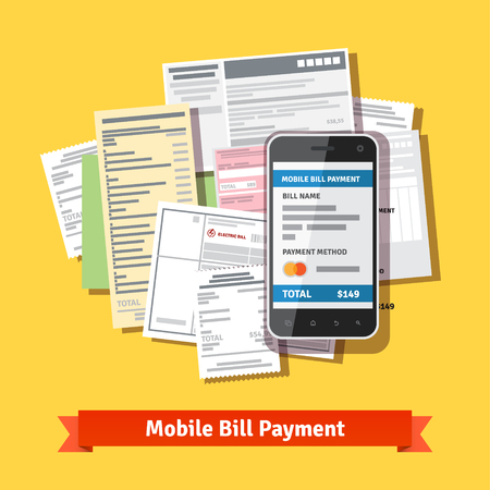 pay bill: Online mobile smartphone bill payment. Phone laying down on heap of bills. Flat vector icon.