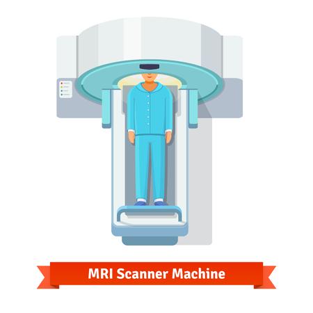 MRI, magnetic resonance imaging machine scanning patient inside. Top view. Flat vector icon. Stock Illustratie